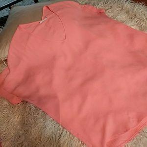 5/$25 Lush peach sheer blouse sz L perfect!